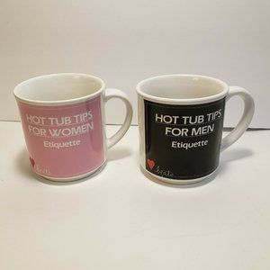 Hot Tub Rules Coffee Cup Mug His Her Vintage Set A